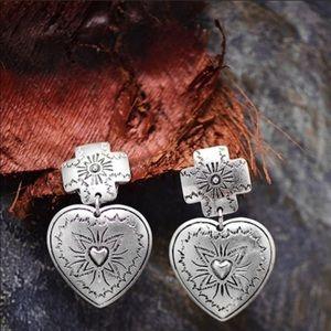 Aztec Heart Dangle Earrings Silver